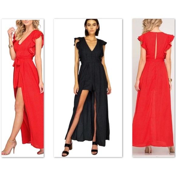 She and Sky Dresses & Skirts - NWT She & Sky black polka dot maxi dress romper